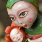 La notte, scultura in terracotta colorata a freddo