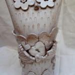 Il gufo innamorato, ceramic box sculpture