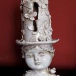 Il cappellaio matto, ceramic sculpture, The hatter