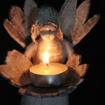 Angelo, scultura porta candela in ceramica, Angel, ceramic sculpture.art doll, candle holder