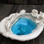 Decorative large ceramic bowl white flowers,Ceramic White Serving Bowl – Dinnerware Serving Bowl,Tableware Bowl
