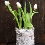 Tulip,white ceramic flowers vase box, vaso scatola in ceramica