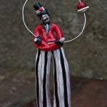 Il giocoliere del circo, juggler, ceramic sculpture