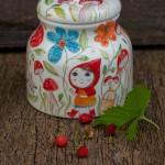 La biscottiera di cappuccetto rosso, ceramic cookies jar