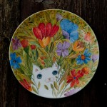 il gatto nascosto, ceramic plate