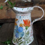 Brocca, buongiorno passerotto.Italian Ceramic Art Pottery Jar Pitcher. Hand Painted Decorated flowers and bird. Made in ITALY Tuscany