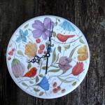 Giardino segreto ceramica illustrata,Secret garden, Ceramic Wall Clock. illustrated pottery, contemporary ceramics, designer pottery, handpainted clock