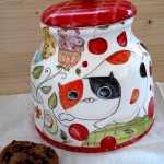 Cat and bird, Italian Ceramic Biscuit Cookies Jar Hand Hand Painted Decorated Made in ITALY Tuscan Art Pottery
